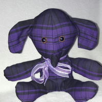 Elephant collectible gift, purple check design