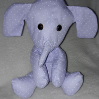 Elephant collectible gift, lilac polka dot print