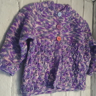 Baby's cardigan, purple multi, lace effect pattern detail