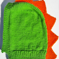 Children's novelty knitted dinohood balaclava