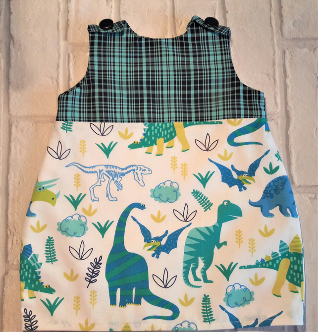 Dinosaur print sleeveless baby dress