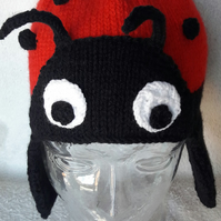 Kids ladybird hat with earflaps