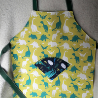 Kid's dinosaur print apron for baking or crafts