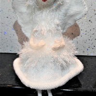 Fairy Princess, hand knitted, collectable doll on stand