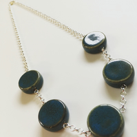 Blue Ceramic Coin Necklace