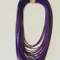 Purple Leather String Necklace