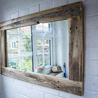Rustic mirror made from reclaimed wood shabby chic wood wooden mirror