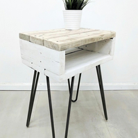 Rustic Side End Table NOA Farmhouse Style, Bedside table made of Rustic Timber