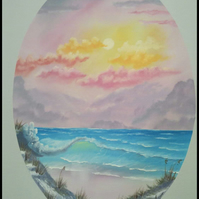 Pastel seascape original oil painting
