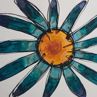 Original blue flower mixed media painting