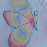 Rainbow butterfly watercolour painting