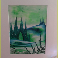 Green castle valley original encaustic art painting