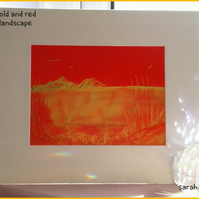 Red and Gold Landscape Original Encaustic Art Painting