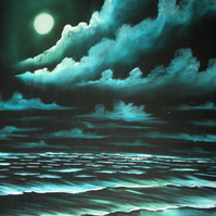 Turquoise Moonlight Beach Original Oil Painting