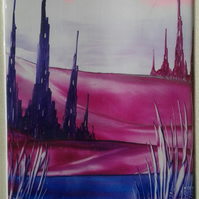 Purple Castle Valley Encaustic Art Painting
