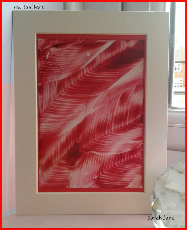 Red fethers original encaustic art painting