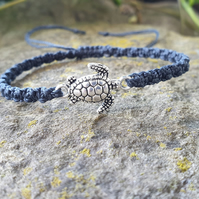 turtle charm bracelet - adjustable bracelet - stacking bracelet