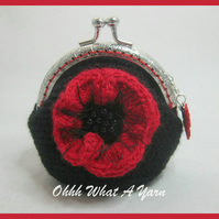 Black and red crochet, crocheted poppy coin purse
