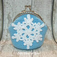 Crochet, crocheted snowflake coin purse