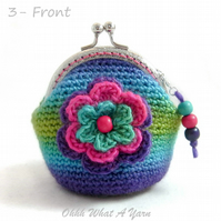 Colourful boho crochet coin purse