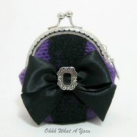 Purple and black bow and lace coin purse with kiss clasp