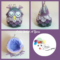 Grey and purple crochet, crocheted owl coin purse