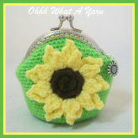Crochet, crocheted sunflower coin purse