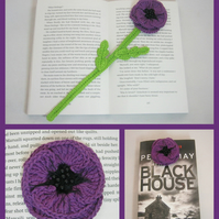 Purple poppy flower crochet bookmark.