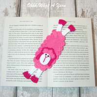 Pink sheep crochet bookmark