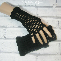 Crochet mesh, web finger-less gloves