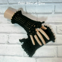 Crochet mesh and lace ladies finger-less gloves.