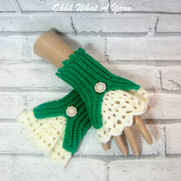 Crochet ladies Victorian style fingerless gloves