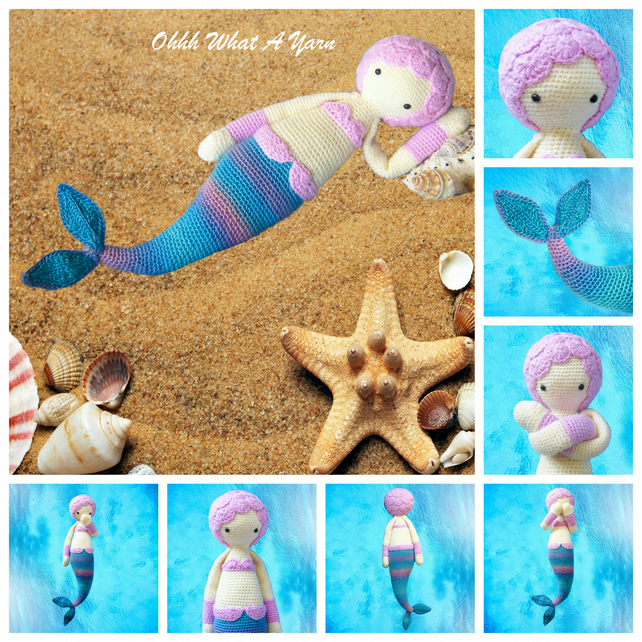 Harmony the mermaid crochet doll, crochet toy. CE tested. Lalylala Doll