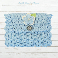Blue crochet sewing case, sewing kit.