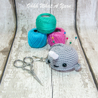 Grey crochet narwhal hanging decoration, pin cushion, scissor keeper, bag charm