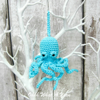 Blue, turquoise crochet octopus hanging decoration, scissor keeper, bag charm