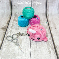 Pink crochet narwhal hanging decoration, scissor keeper, pin cushion, bag charm