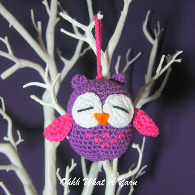 Crochet Purple owl hanging decoration, pin cushion, scissor keeper, bag charm