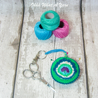 Green crochet peacock feather decoration, scissor keeper, pin cushion