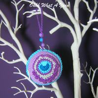 Lilac crochet peacock feather decoration, scissor keeper, pin cushion