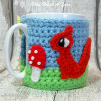 Crochet squirrel mug hug, mug cosy with beaded toadstool