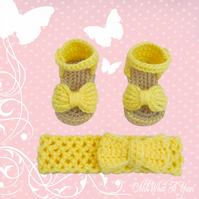 Crochet yellow baby sandals with matching headband - Age Newborn