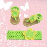 Crochet green and yellow baby sandals with matching headband - Age 0-3 months