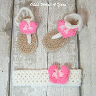 Crochet pink and white baby sandals with matching headband - Age 3-6 months