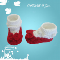 Crochet red and white baby Mary Jane shoes, booties, boots - Age 3-6 months
