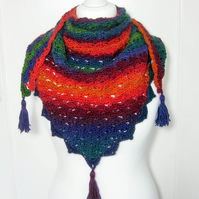 Crochet ladies multi coloured shawl, scarf, shawlette, wrap
