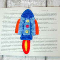 Crochet rocket bookmark, space bookmark, page keeper