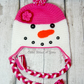 Crochet pink snowlady, snowman hat,  Age 1-2 years approx