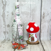 Crochet red toadstool fairy house decoration, ornament