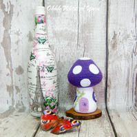 Crochet purple toadstool fairy house decoration, ornament